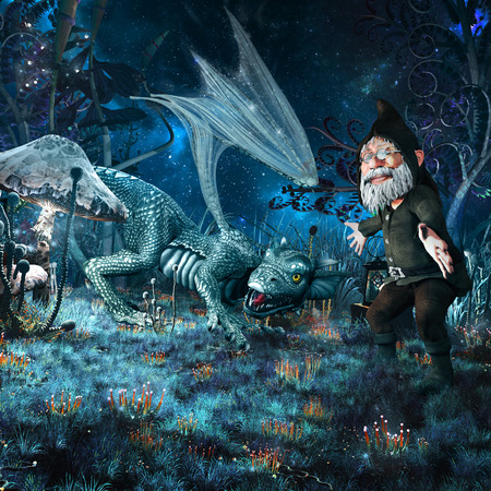 hatchling: Night fairytale scenery with hatchling dragon, gnome and fantasy plants