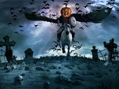 Night scene with creepy knight with pumpkin head, tombstones and skulls