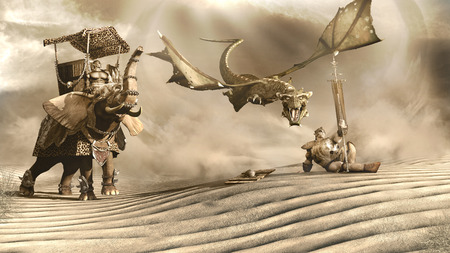 Desert scene with dragon,war elefant and orc Stock Photo