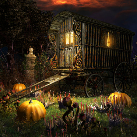 Halloween scenery with old wagon on the magic field