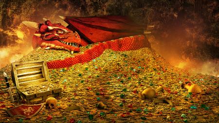 Fairytale scene with red dragon sleeping on the treasure pile Foto de archivo