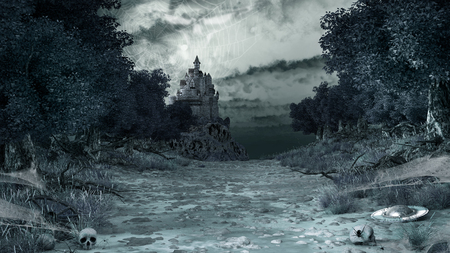 gloom: Gloomy scenery with spiders, webs, skulls and castle Stock Photo