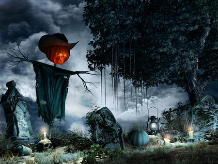 墓石、キャンドル、かかしのハロウィーン風景 写真素材