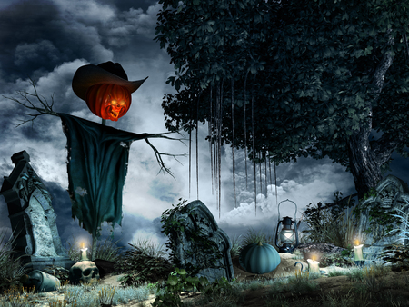 Halloween scenery with tombstones,candles and scarecrow Фото со стока - 64031386