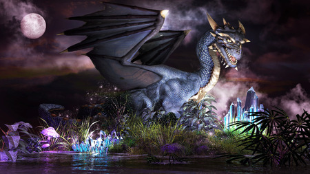 blue dragon: Fairytale scenery with blue dragon, glowing crystals and magic plants