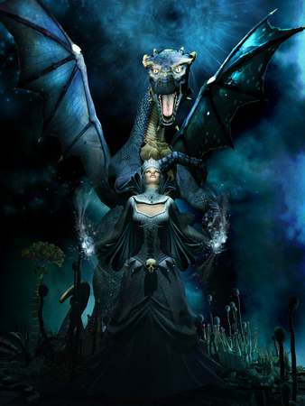 blue dragon: Night fantasy scene with blue dragon and evil sorceress Stock Photo