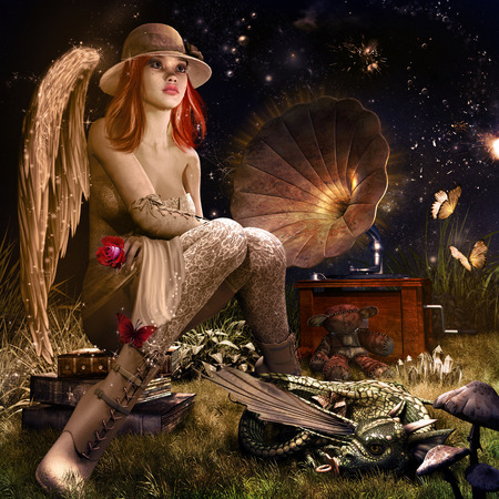 Fairytale night scenery with angel, dragon baby, butterflies and gramophone