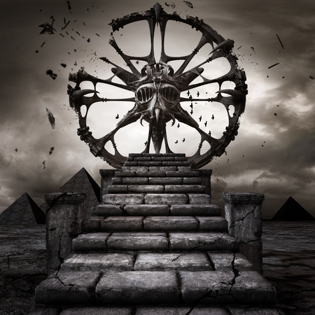 gloomy: Gloomy scenery with exploding stone wheel and pyramids