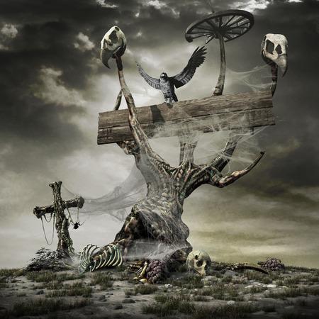 gloomy: Horror scene with creepy tree, skulls,bones and crow Stock Photo