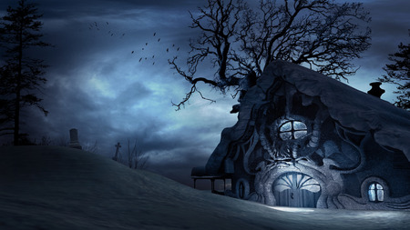 snow covered: Dark, horror scenery with creepy trees and snow covered hut Stock Photo