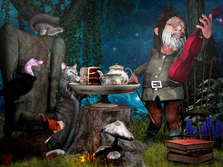 concerto: Night scene with animals and gnome playing violin Stock Photo