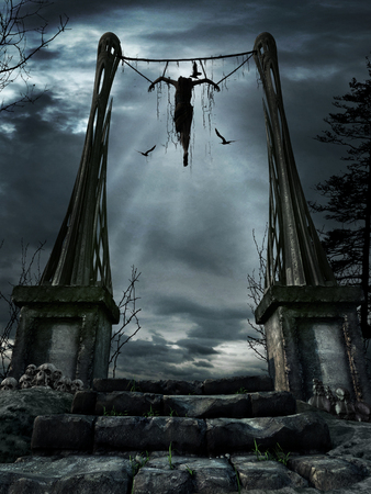 Dark fantasy scene with hanging woman and birds of prey
