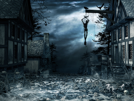 Horror scenery with old abandoned village, hanging man and rats Stockfoto