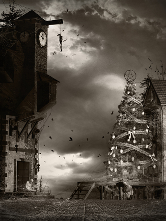 gloom: Horror scenery with christmas tree. hanging men and spiders webs