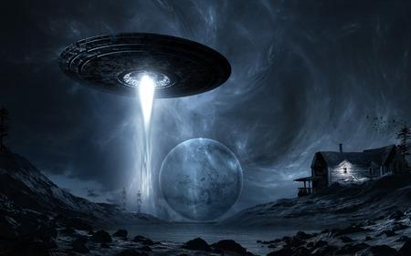 platillo volador: Escena de la noche con dos esqueletos, platillo volante, la luna y el lago