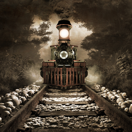 Gloomy scenery with old rusty train, foggy forest and skulls