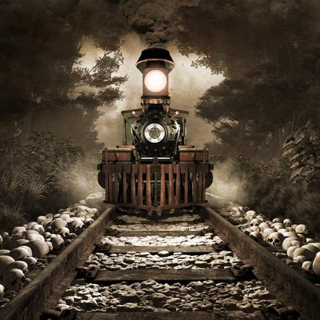 scenario tenebroso con vecchio treno arrugginito, foresta nebbiosa e teschi