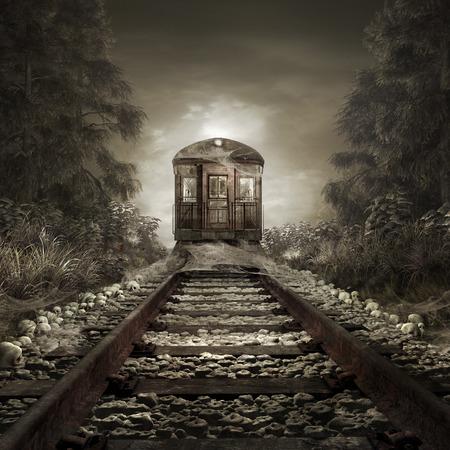 Sombere landschap met bos, spoorweg en de oude trein