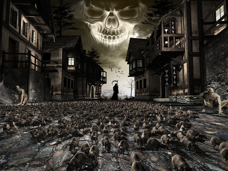 Dark fantasy scene with rats running on the street,zombies and grim reaper