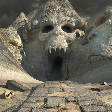 wasteland: Creepy desert cave with damaged colums and skulls Stock Photo