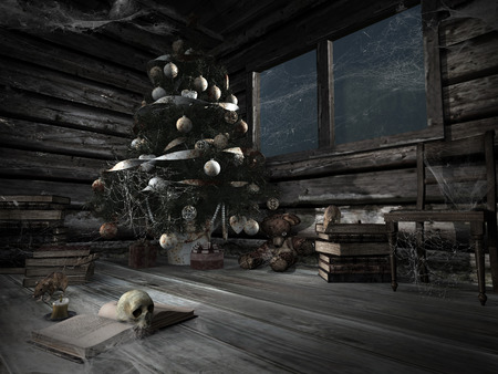 Gothic scene with christmas tree covered by spider web, old books,rats and skull