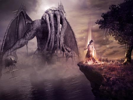 Fantasie landschap met monster en boze tovenares