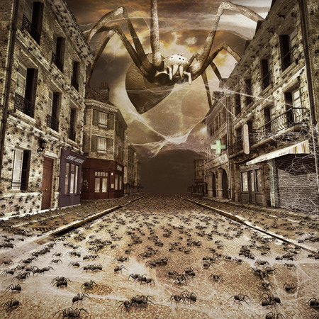 dark street: Dark fantasy scenery with spiders on the street of the small village Stock Photo
