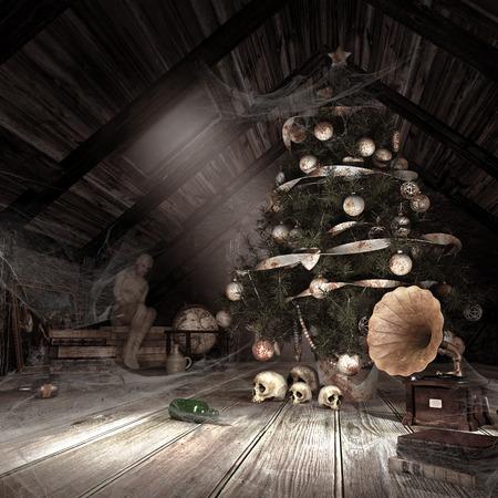 Düstere Landschaft mit staubigen Dachboden, abgetropft Weihnachtsbaum, Spinnweben und Schädel