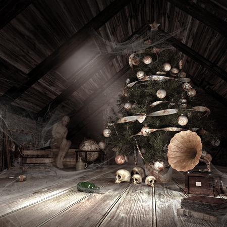 Gloomy scenery with dusty attic, drained christmas tree,spider webs and skulls