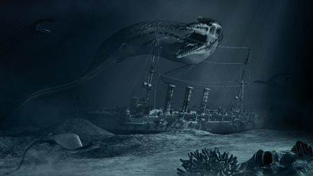sunken: Underwater scene with prehistoric monster  and sunken ship Stock Photo