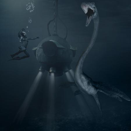 underwater scene: Underwater scene with monster,bathysphere and  diver Stock Photo
