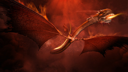 Amazing scene with fire dragon, bursts and smoke