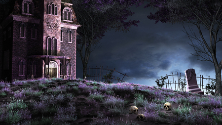 manor: Colorful night scene with creepy manor on the top of the hill