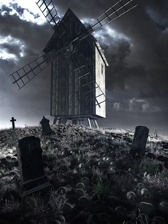 Old wooden windmill on the hill of skulls