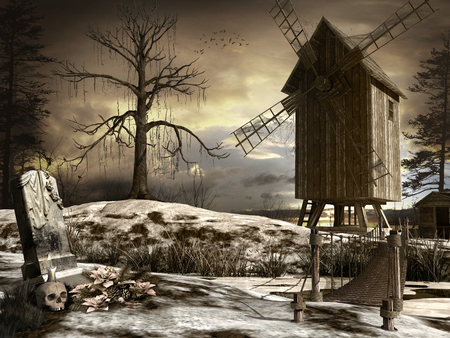 gloom: Horror scenery with old wooden windmill, dead tree and tombstone Stock Photo