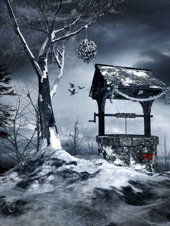 gloomy: Winter scenery with old well and lonely tree