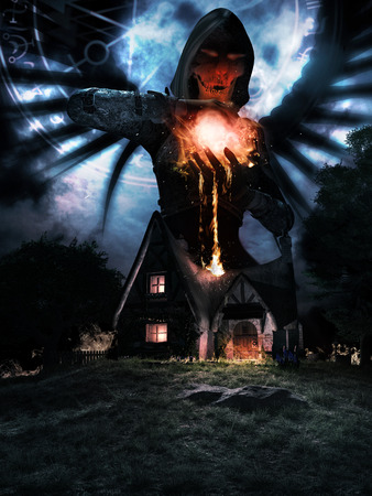 Night scene with old house and angel holding fireball