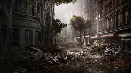 Ruiné rue de la ville avec la voiture et les arbres détruits