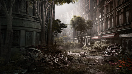Ruined city street with destroyed car and trees