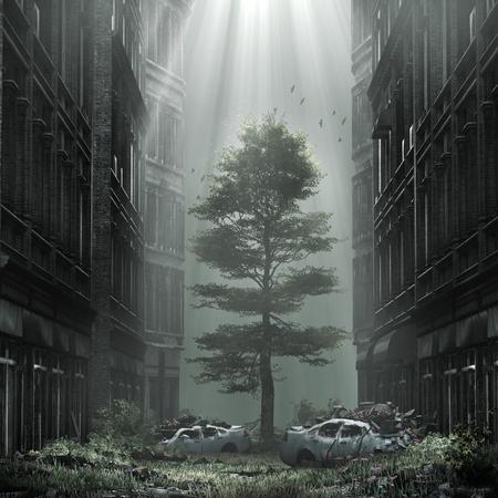 道の真ん中に巨大なツリーと悲観的な風景