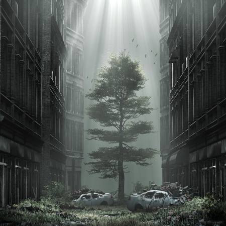 Gloomy scenery with huge tree in the middle of the street