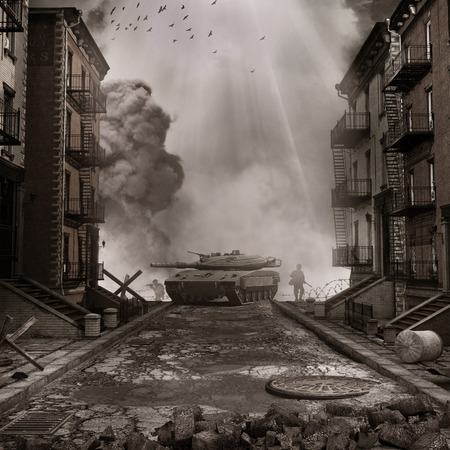 War scenery with tank on the street of destroyed city