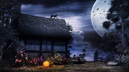 Halloween scenery with old house, black cat and pumpkin