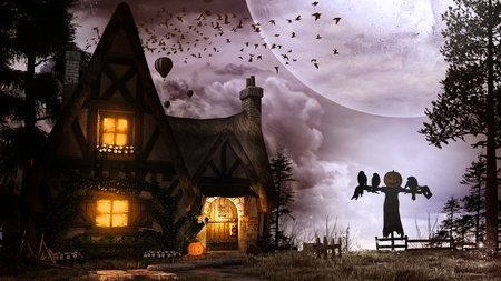 Night scene with scarecrow, pumpkin and small cottage