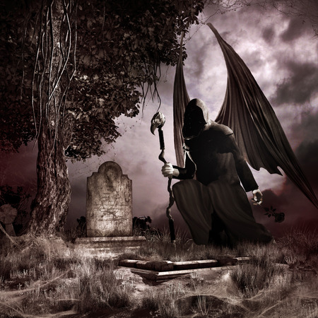 angel cemetery: Gothic scenery with old grave, tree and dark angel Stock Photo