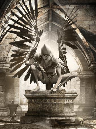 gloomy: Gloomy scene with old crypt and creepy angel
