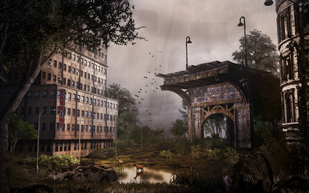 city building: Post apocalyptic scenery with city building and ruined bridge