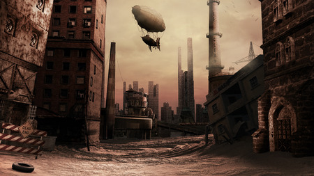 Scene with destroyed builings and airship.
