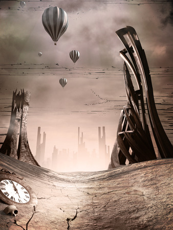 apocalyptic: Post apocalyptic scene with towers and balloons