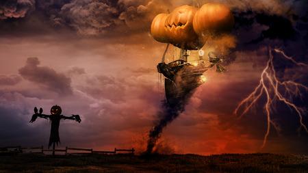 Halloween scene with scarecrow and amazing airship Фото со стока